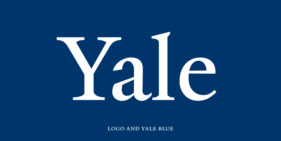Yale logo against Yale blue background